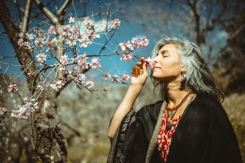 Beautiful women enjoying the nature.