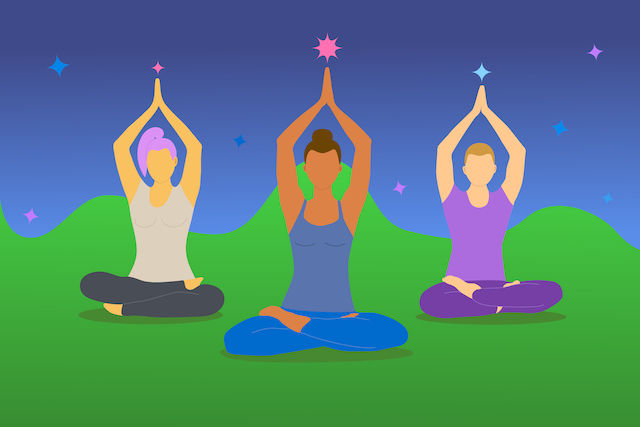 Meditation and yoga for three people of different genders and skin colors. A dark-skinned girl is meditating with her friends. Vector illustration