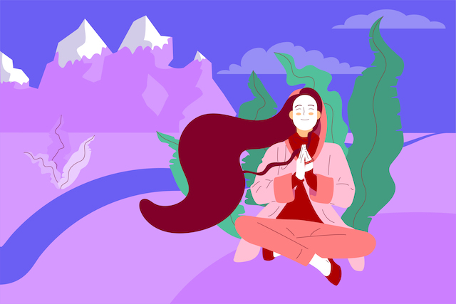 Flat style girl with long hair sitting crossed legged with prayer gesture in beautiful countryside, landscape with mountains and river, stock vector illustration.